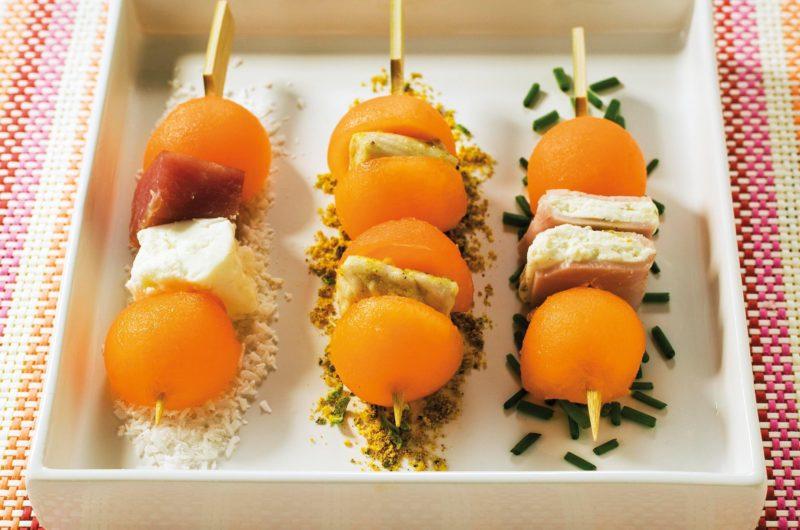 Mini brochettes de melon charentais jaune -déclinaison apéritive