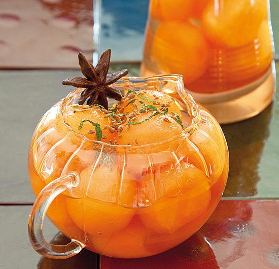 Verrines de melon, sirop léger à l'anis