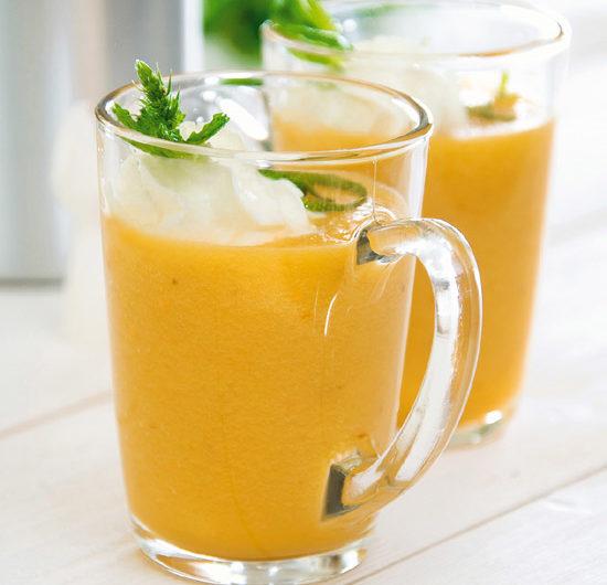 Gaspacho de melon, chantilly à lamenthe fraîche