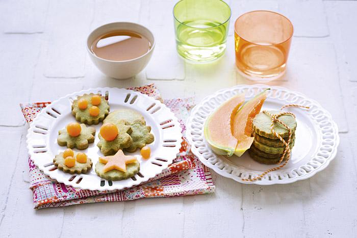 Petits sablés au thé vert et au melon