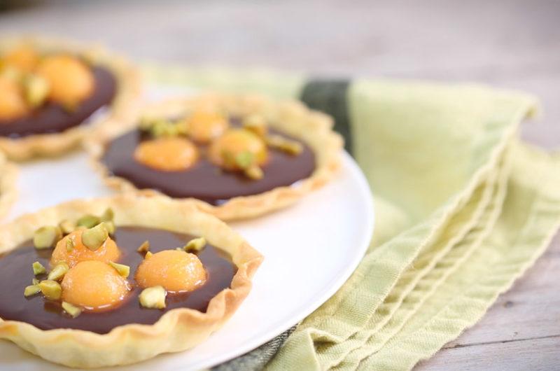 Tartelettes au melon confit,gingembre et chocolat