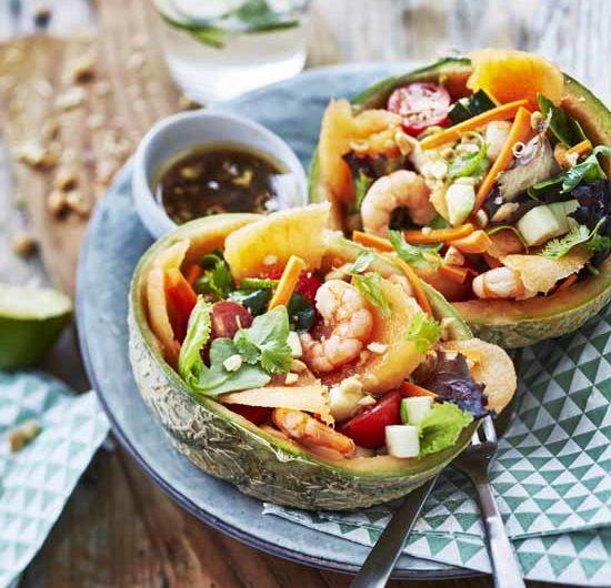 Bowl thaï de melon aux crevettes